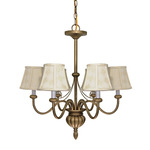 (5 Light) Chandelier - Flemish Gold / Ecru Diamond Shades - Nuvo Lighting 60-145