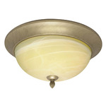 (3 Light) Flush Mount Ceiling Fixture - Flemish Gold / Gold Washed Alabaster Swirl Glass - Nuvo Lighting 60-146