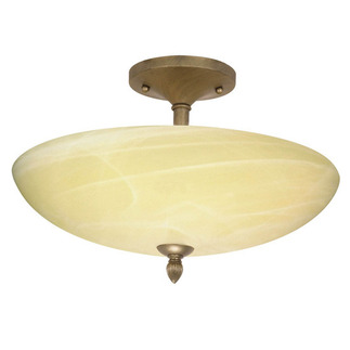 (3 Light) Semi-Flush Ceiling Fixture - Flemish Gold / Gold Washed Alabaster Swirl Glass - Nuvo Lighting 60-147