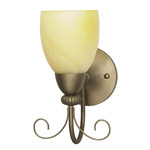 (1 Light) Vanity - Flemish Gold / Gold Washed Alabaster Swirl Glass - Nuvo Lighting 60-149