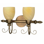 (2 Light) Vanity - Flemish Gold / Gold Washed Alabaster Swirl Glass - Nuvo Lighting 60-150