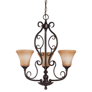 (3 Light) Chandelier - Golden Umber / Toffee Crunch Glass - Nuvo Lighting 60-1501