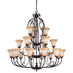 (22 Light) (3 Tier) Chandelier - Golden Umber / Toffee Crunch Glass - Nuvo Lighting 60-1504