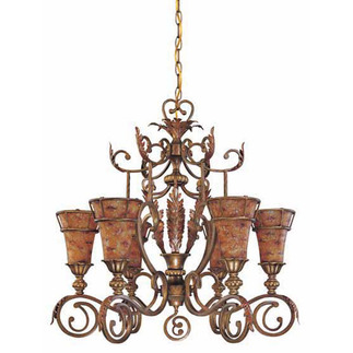 (6 Light) Chandelier - Antique / Art Nouveau Glass - Nuvo Lighting 60-1522