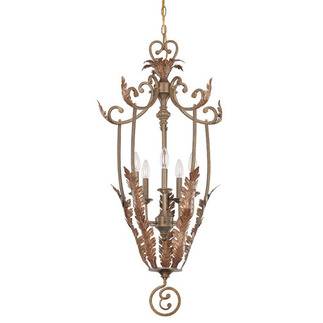 (5 Light) Cage Pendant - Antique Gold / Art Nouveau Glass - Nuvo Lighting 60-1526