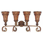(4 Light) Vanity - Antique Gold / Art Nouveau Glass - Nuvo Lighting 60-1532