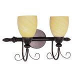 (2 Light) Vanity - Textured Black / Gold Washed Alabaster Swirl Glass - Nuvo Lighting 60-155