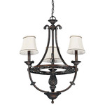 (3 Light) Chandelier - Distressed Bronze / Natural Linen Shades - Nuvo Lighting 60-1561