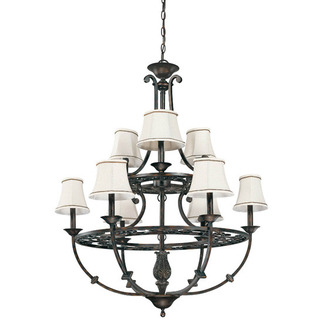 (9 Light) (2 Tier) Chandelier - Distressed Bronze / Natural Linen Shades - Nuvo Lighting 60-1563