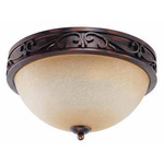 (3 Light) Flush Mount Ceiling Fixture - Distressed Bronze / Brushed Wheat Glass - Nuvo Lighting 60-1565