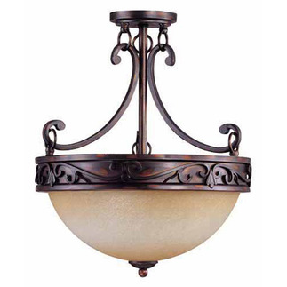 (3 Light) Semi-Flush Ceiling Fixture - Distressed Bronze / Brushed Wheat Glass - Nuvo Lighting 60-1566