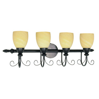 (4 Light) Vanity - Textured Black / Gold Washed Alabaster Swirl Glass - Nuvo Lighting 60-157