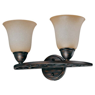 (2 Light) Vanity - Distressed Bronze / Brushed Wheat Glass - Nuvo Lighting 60-1571