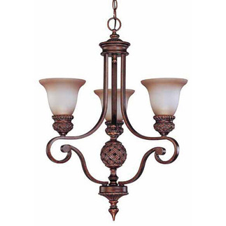 (3 Light) Chandelier - Arm Up - Dark Plum Bronze / Amber Bisque Glass - Nuvo Lighting 60-1581 - Residential Light Fixture