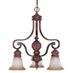(3 Light) Chandelier - Arm Down - Dark Plum Bronze / Amber Bisque Glass - Nuvo Lighting 60-1582 - Residential Light Fixture