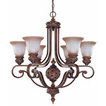(6 Light) Chandelier - Dark Plum Bronze / Amber Bisque Glass - Nuvo Lighting 60-1583 - Residential Light Fixture