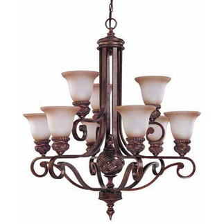 (9 Light) (2 Tier) Chandelier - Dark Plum Bronze / Amber Bisque Glass - Nuvo Lighting 60-1584 - Residential Light Fixture