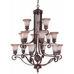 (15 Light) (3 Tier) Chandelier - Dark Plum Bronze / Amber Bisque Glass - Nuvo Lighting 60-1585