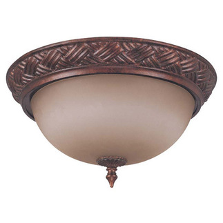 (3 Light) Flush Ceiling Fixture - Dark Plum Bronze / Amber Bisque Glass - Nuvo Lighting 60-1586 - Residential Light Fixture