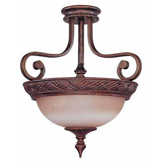 (3 Light) Semi-Flush Ceiling Fixture - Dark Plum Bronze / Amber Bisque Glass - Nuvo Lighting 60-1587