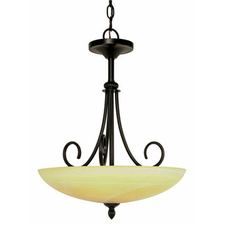 (3 Light) Pendant - Textured Black / Gold Washed Alabaster Swirl Glass - Nuvo Lighting 60-159