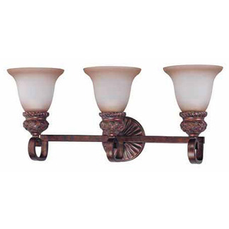 (3 Light) Vanity - Dark Plum Bronze / Amber Bisque Glass - Nuvo Lighting 60-1593 - Residential Light Fixture