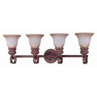 (4 Light) Vanity - Dark Plum Bronze / Amber Bisque Glass - Nuvo Lighting 60-1594