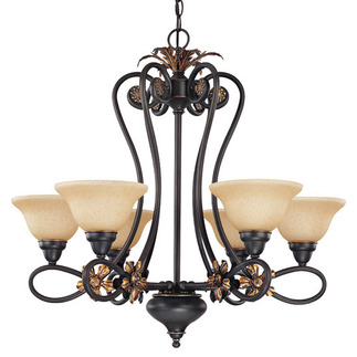 (6 Light) Chandelier - Rustic Bronze / Tangerine Peel Glass - Nuvo Lighting 60-1622 - Residential Light Fixture
