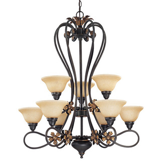 (9 Light) (2 Tier) Chandelier - Rustic Bronze / Tangerine Peel Glass - Nuvo Lighting 60-1623 - Residential Light Fixture