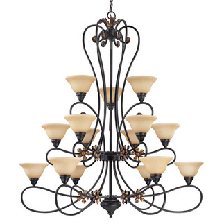 (15 Light) (3 Tier) Chandelier - Rustic Bronze / Tangerine Peel Glass - Nuvo Lighting 60-1624