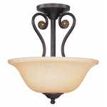 (2 Light) Semi-Flush Ceiling Fixture - Rustic Bronze / Tangerine Peel Glass - Nuvo Lighting 60-1626 - Residential Light Fixture