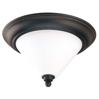 (2 Light) Flush Mount Ceiling Fixture - Mission Dust Bronze / Satin White Glass - Nuvo Lighting 60-1705 - Residential Light Fixture