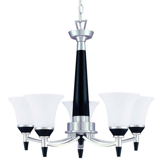 (5 Light) Chandelier - Nickel & Black / Satin White Glass - Nuvo Lighting 60-1742