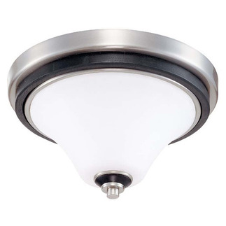 (1 Light) Flush Mount Ceiling Fixture - Nickel & Black / Satin White Glass - Nuvo Lighting 60-1744