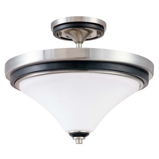 (2 Light) Semi-Flush Ceiling Fixture - Nickel & Black / Satin White Glass - Nuvo Lighting 60-1747