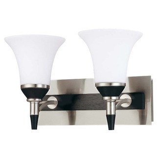 (2 Light) Vanity - Nickel & Black / Satin White Glass - Nuvo Lighting 60-1752