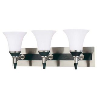 (3 Light) Vanity - Nickel & Black / Satin White Glass - Nuvo Lighting 60-1753