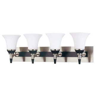 (4 Light) Vanity - Nickel & Black / Satin White Glass - Nuvo Lighting 60-1754