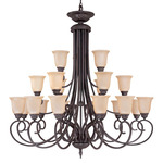 (21 Light) (3 Tier) Chandelier - Sudbury Bronze / Vintage Champagne Glass - Nuvo Lighting 60-1764 - Residential Light Fixture