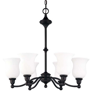 (6 Light) Chandelier - Sudbury Bronze / Satin White Glass - Nuvo Lighting 60-1782