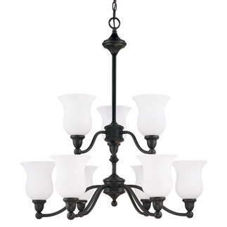 (9 Light) (2 Tier) Chandelier - Sudbury Bronze / Satin White Glass - Nuvo Lighting 60-1783