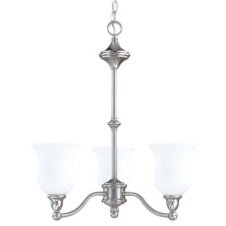 (3 Light) Chandelier - Brushed Nickel / Satin White Glass - Nuvo Lighting 60-1801