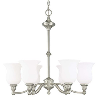 (6 Light) Chandelier - Brushed Nickel / Satin White Glass - Nuvo Lighting 60-1802
