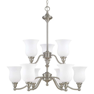 (9 Light) (2 Tier) Chandelier - Brushed Nickel / Satin White Glass - Nuvo Lighting 60-1803