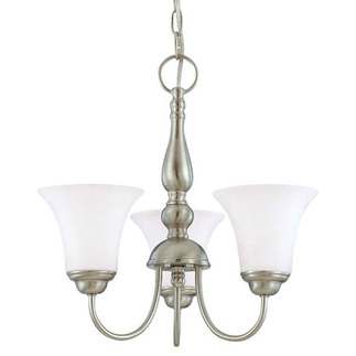 (3 Light) Chandelier - Brushed Nickel / Satin White Glass - Nuvo Lighting 60-1821