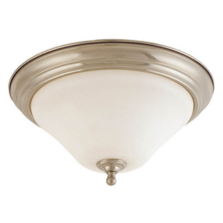(1 Light) Flush Mount Ceiling Fixture - Brushed Nickel / Satin White Glass - Nuvo Lighting 60-1824