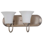 (2 Light) Vanity - Brushed Nickel / Satin White Glass - Nuvo Lighting 60-1833