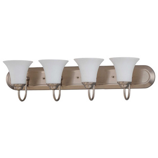 (4 Light) Vanity - Brushed Nickel / Satin White Glass - Nuvo Lighting 60-1835 - residential