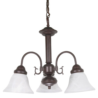 (3 Light) Chandelier - Old Bronze / Alabaster Glass Bell Shades - Nuvo Lighting 60-184