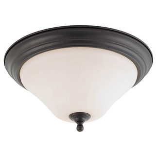 (1 Light) Flush Mount Ceiling Fixture - Dark Chocolate Bronze / Satin White Glass - Nuvo Lighting 60-1844